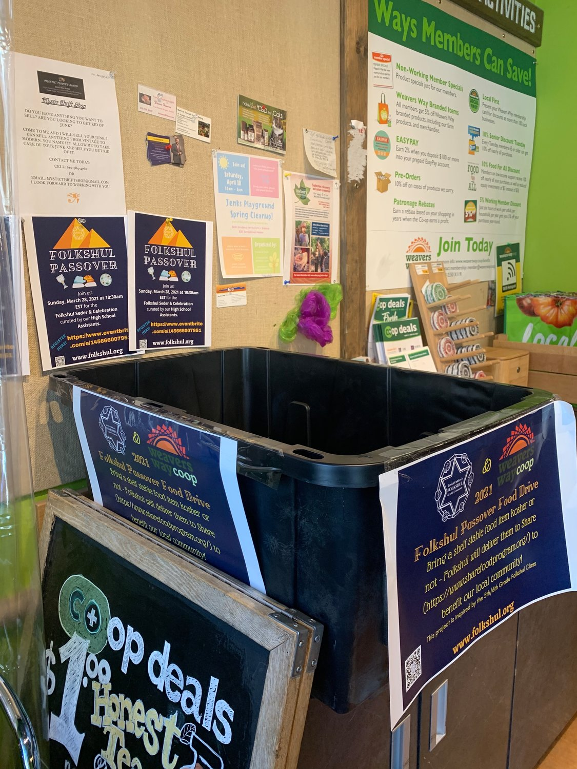 A Folkshul food donation container at Weavers Way Coop.