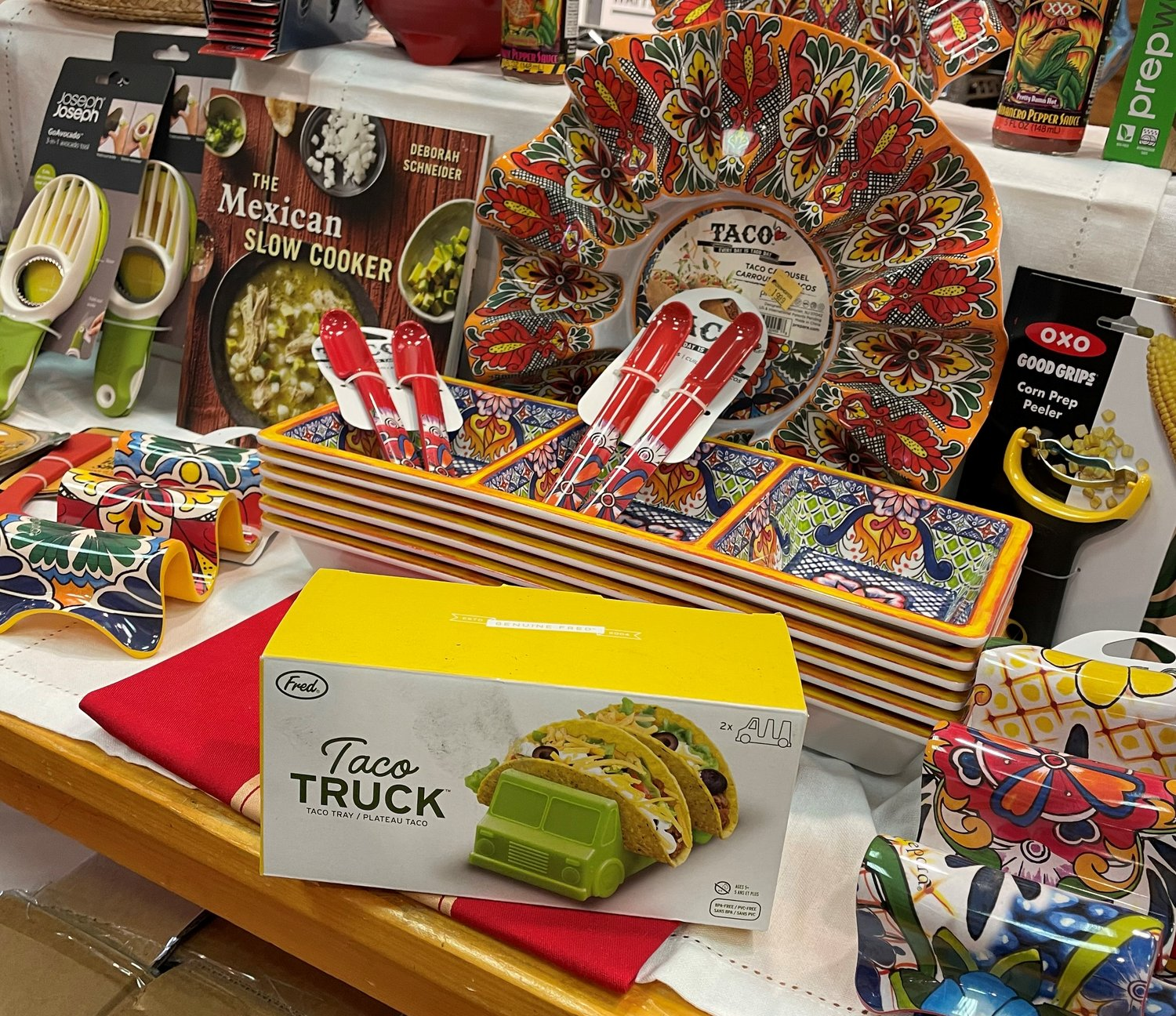 The Fred Taco Truck and the taco accessories table at Kitchen Kapers is a hot section of the store right now.