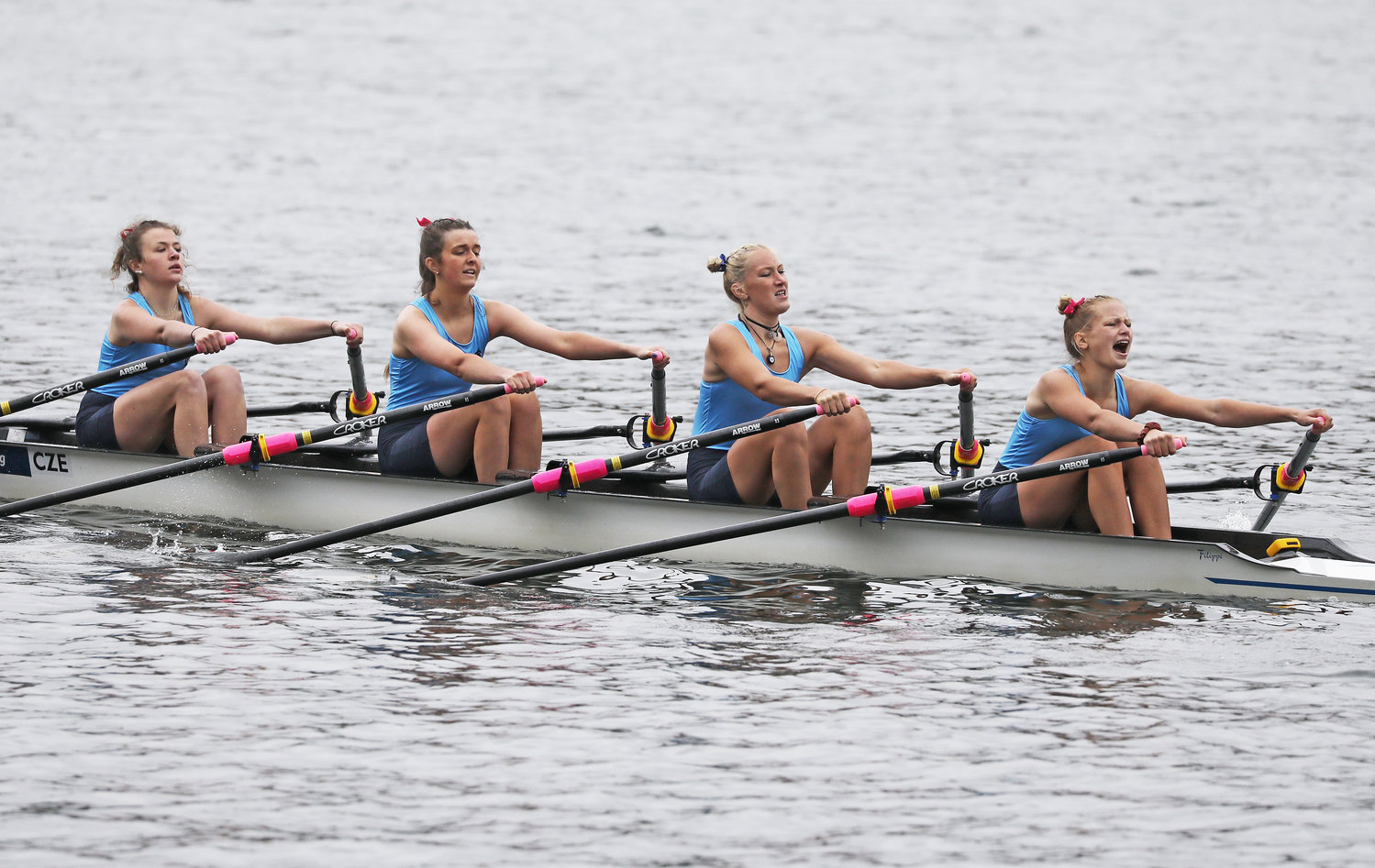 A quartet of Springside crew rowers was among the many local school teams that returned to the sport after a long absence forced by COVID-19 restrictions. (Photo by Tom Utescher)