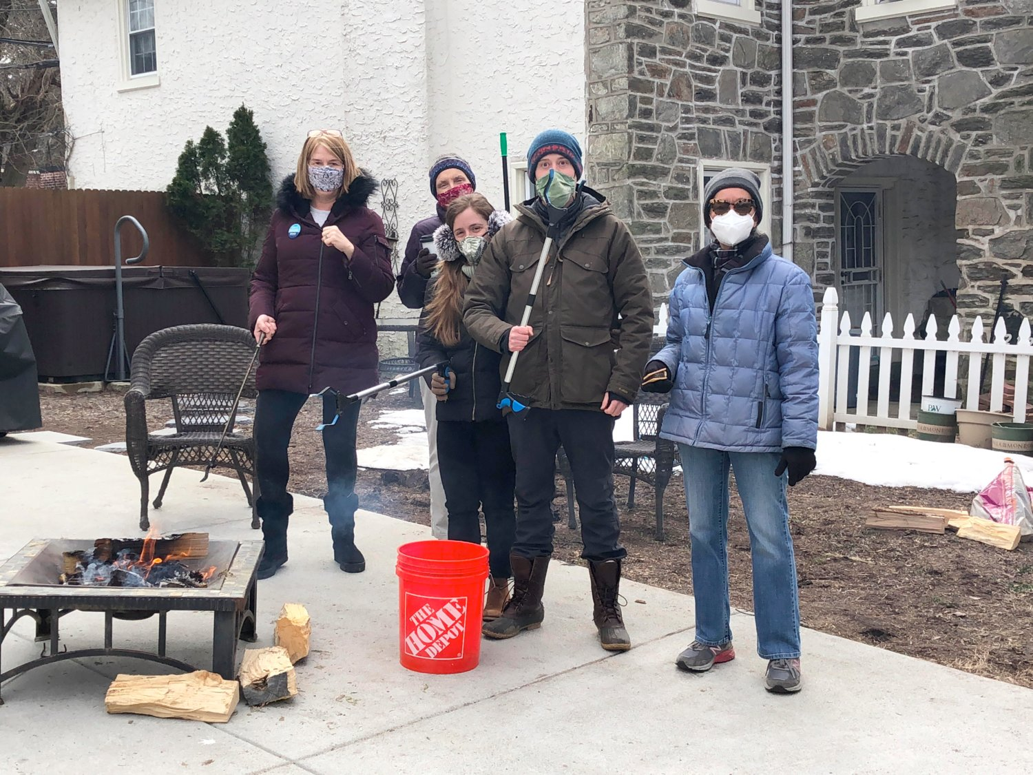 Members of the Mt. Airy Trash Team (from left) Jennifer Keene, Peggy Thomson, Natalie Sloane, Brody Rosenfeld and Dawn James.