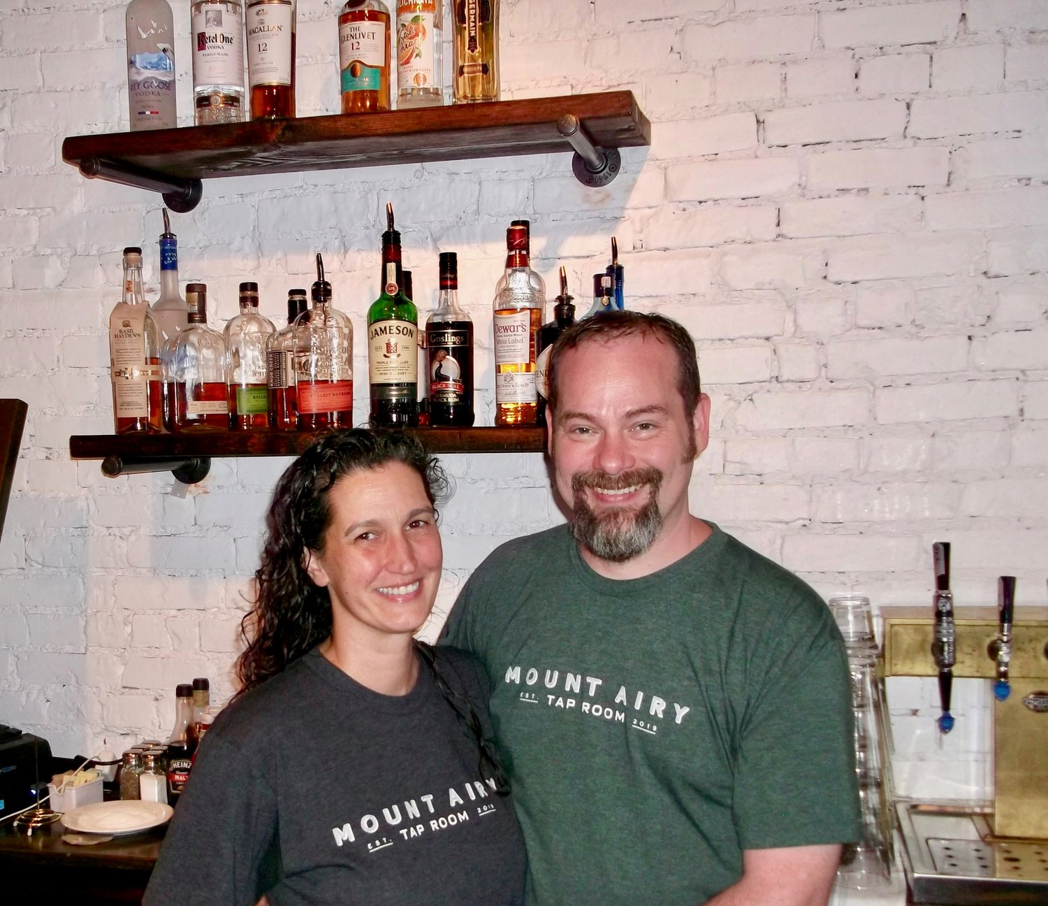 Long-time Mt. Airy residents Rob and Elizabeth Pelszynski opened the new Mt. Airy Taproom in the former home of Goat Hollow six months before the pandemic started. (Phots by Len Lear)