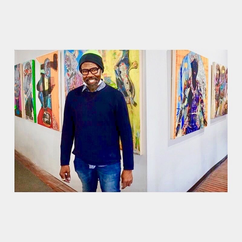 Elam is seen at an exhibit of his work at City Arts Salon in North Philadelphia just before the pandemic began last March.