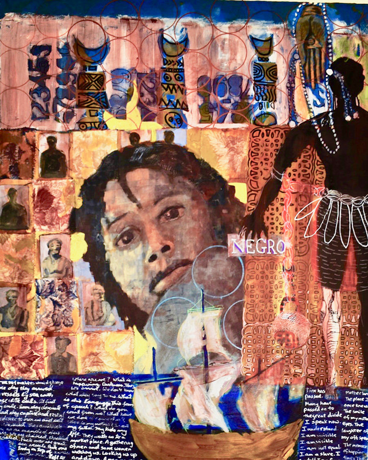 """Middle Passage,"" by Elam, is 48"" high by 36"" wide, mixed-media on canvas, consisting of collage acrylic paint markers. ""My work is about elevating spirit as seen through the eyes of a person of African descent,"" he explained."