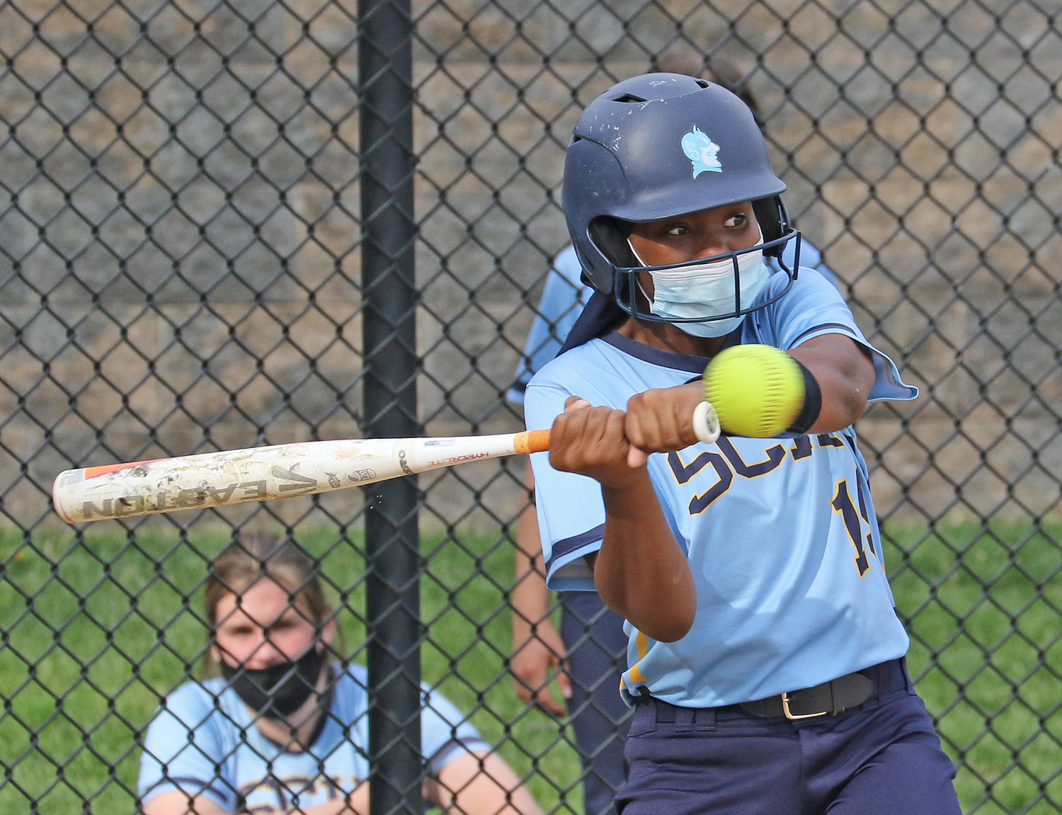 Eighth-grader Layla Shands had the lone hit for the Blue Devils against Lawrenceville.  (Photo by Tom Utescher)