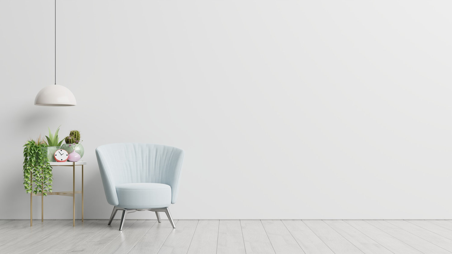20210505 095731 interior has armchair empty white wall background 3d rendering.