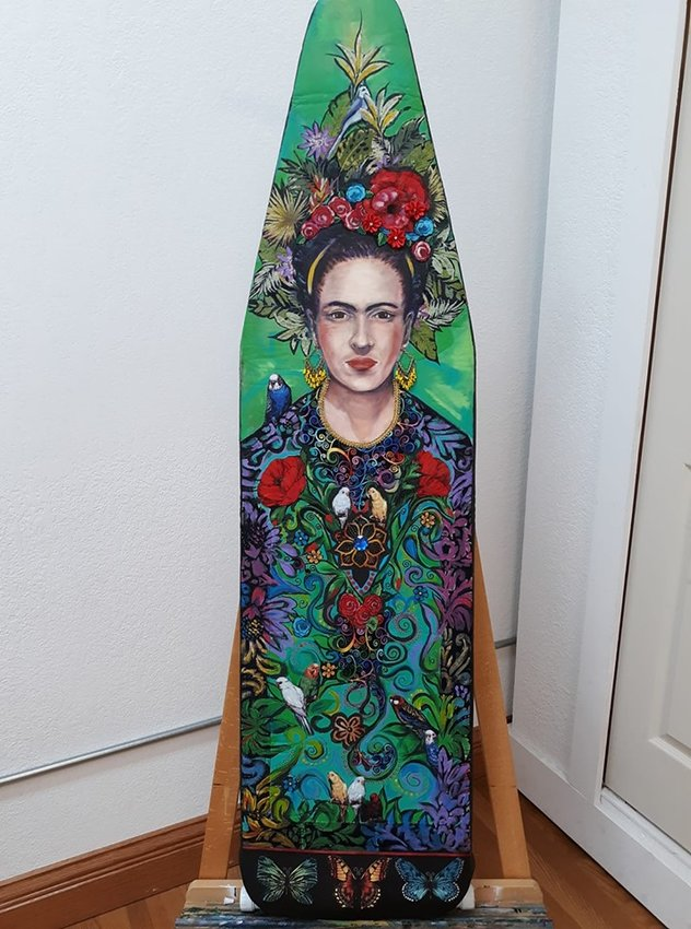 These are some of the remarkably clever and creative ironing boards which will be up for auction Saturday, July 13 at the Clare Depot.