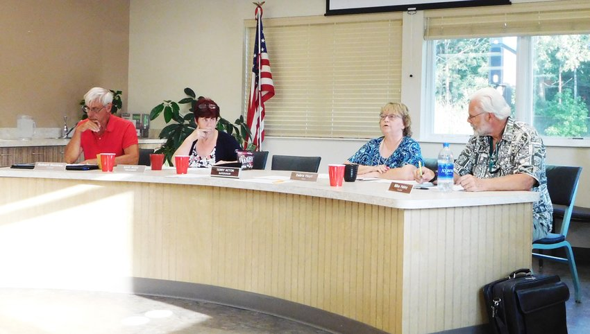 Deb Hoyt, Hayes Township clerk, brings to order the Aug. 5 special township board meeting. Board members, from left, are Bob Buckley, trustee; Maye Tessner-Rood, treasurer; Hoyt; and Mike Haley, trustee.
