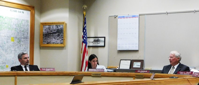 Commissioners Dale Majewski, left, Samantha Pitchford and Jack Kleinhardt are pictured during the Sept. 18 meeting of Clare County Board of Commissioners, shortly before Majewski and Pitchford were the only dissenting votes cast against adoption of the Clare County General Appropriations Act for 2020.