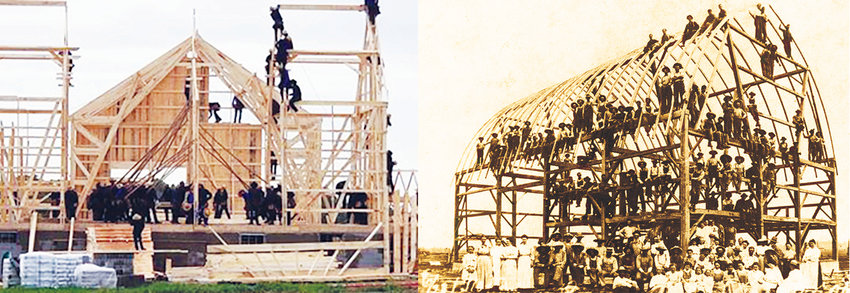 Barn raising in 2019 and early 1900's-both Clare County, Michigan