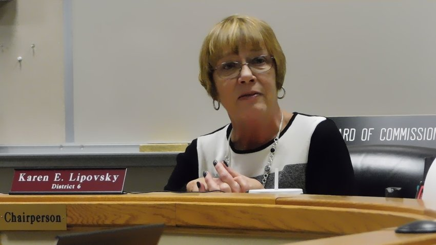 In this file photo, Karen Lipovsky is shown in December 2018 during her final report as chairperson/member of the Clare County Board of Commissioners where she offered some recollections of the many people she worked with in her 20 years with the BOC.