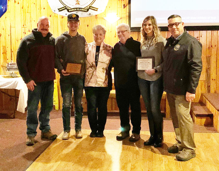 Pictured, from left, are John Wilson, Ryan Haskin, Jan Haskin, Don Haskin, Erica Cullen and Stacy Stocking. Ryan Haskin and Erika Cullen received lifesaving awards for administering CPR to Don in July.
