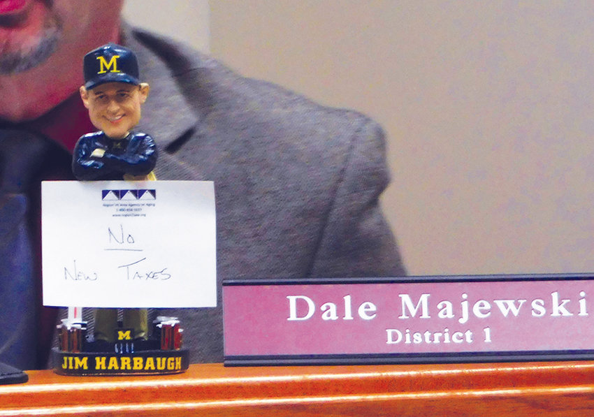Commissioner Dale Majewski makes known his stance on millage increases prior to the start of the Jan. 15 meeting of the Clare County Board of Commissioners.