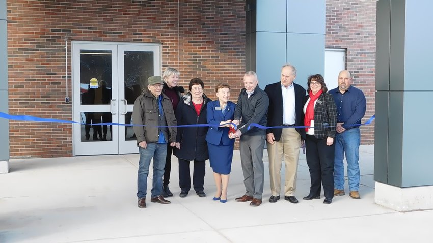Gathered at the new south entrance for the official ribbon-cutting ceremony are Ed Haynack, benefactor; Terry Petrongelli, MMC Board trustee; Betty Mussell, MMC Board vice chair; Christine Hammond, MMC president; state Rep. Jason Wentworth; Richard Allen Sr., MMC Board secretary; Lillian Frick, MMC Vice President for Finance and Facilities; and Joe Meyers, MMC Director of Facilities.