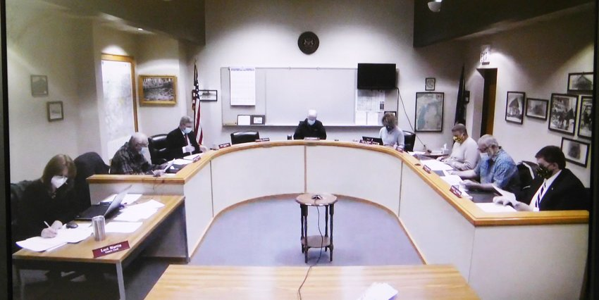 Pictured at the May 5 special budget meeting, the Clare County Board of Commissioners continue to hash out how to make the painful, yet necessary budget cuts to enable the county to stay afloat until revenues rise.
