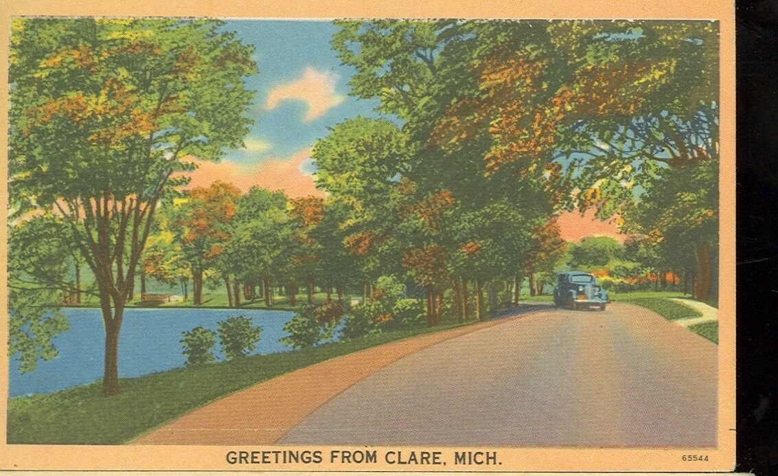 Clare Michigan scene on linen postcard