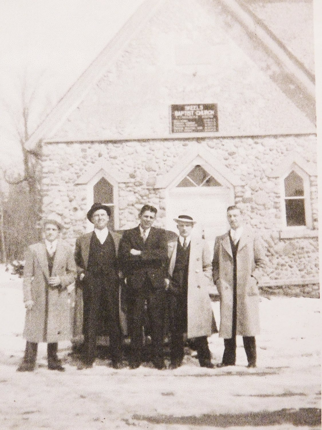Men of the Skeels Baptist Church in 1939; Oscar Otto, Walter Seipke, Gorden Seipke, Harry Otto.and Ralph (last name unknown).