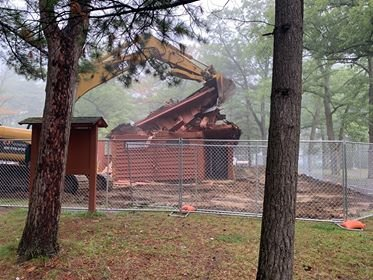 The second restroom was demolished on Sept. 11.  The restrooms will be replaced by next season.