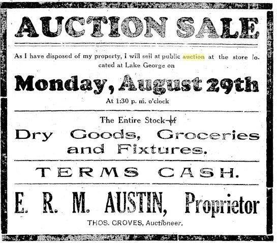 Ad for auction from the Clare Sentinel, 1927