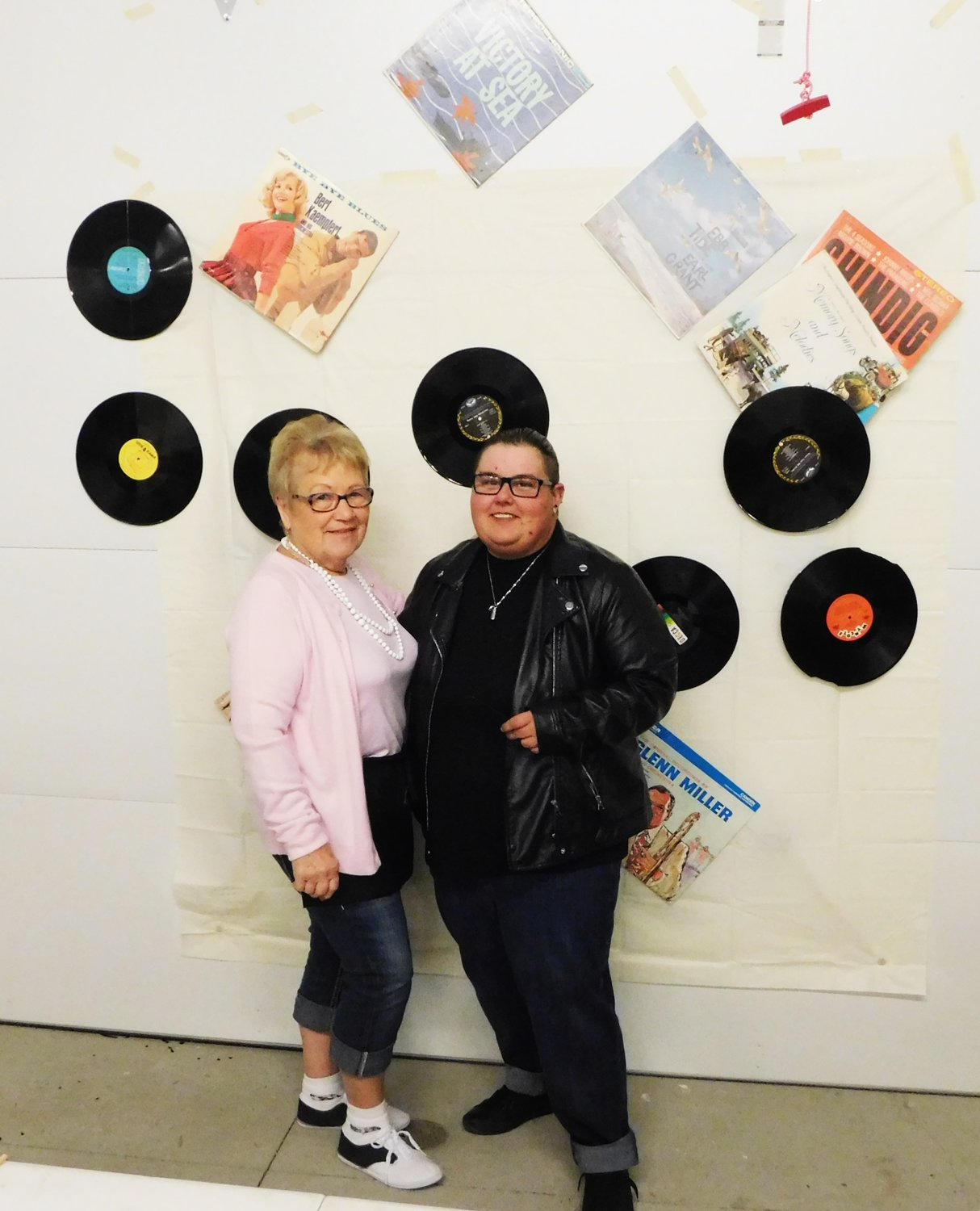 Sock Hop participants had a chance to cut a rug, as well as to get a photo in front of the music-themed backdrop.