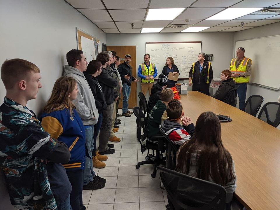 The Harrison Stingers of Steel robotics team was joined by the Clare Chaos Theory robotics team for a tour of the Lear Corp. in Farwell to learn about robotics in manufacturing.