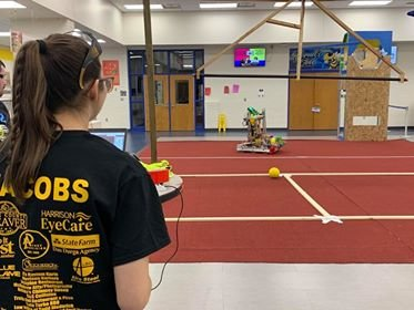 Senior and team captain Jessica Jacobs operates the robot Saturday during the Harrison Robotics open house at Harrison High School.