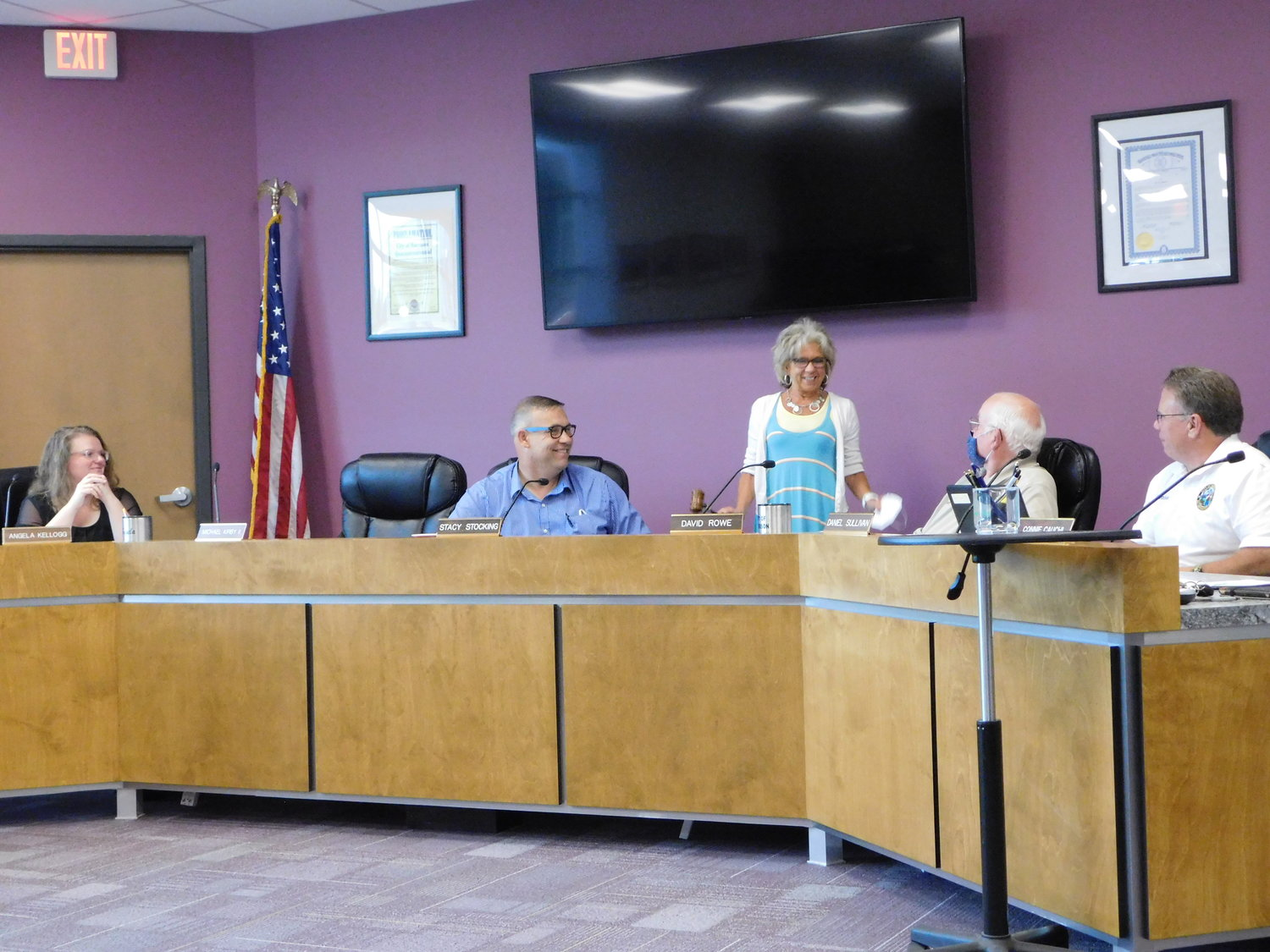 Council members look on as Sharon Hawkins, city treasurer, gavels the close of her last Harrison City Council meeting. The following Wednesday was to be Hawkins' last day on the job before retiring, leaving the city's employ after 41 years.
