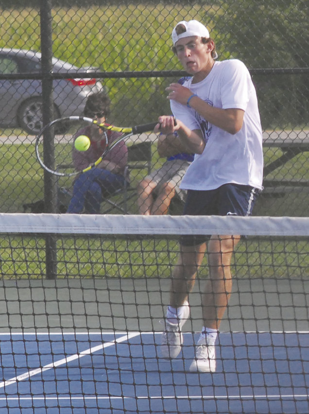 Carson Eberly picked up another win at No. 1 singles.