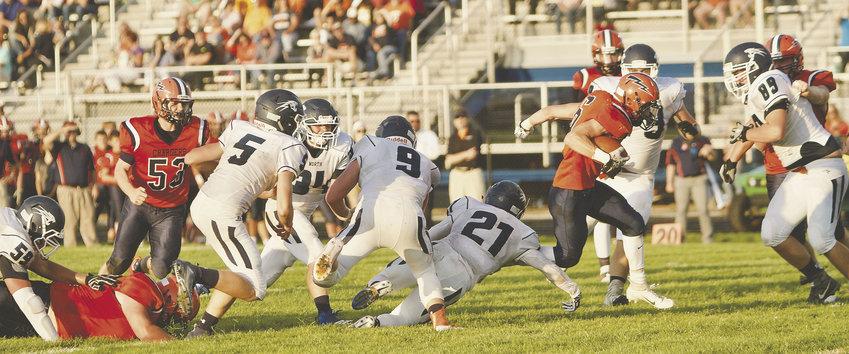 Zach Waldon gets through North Putnam's defense to scramble for a touchdown.