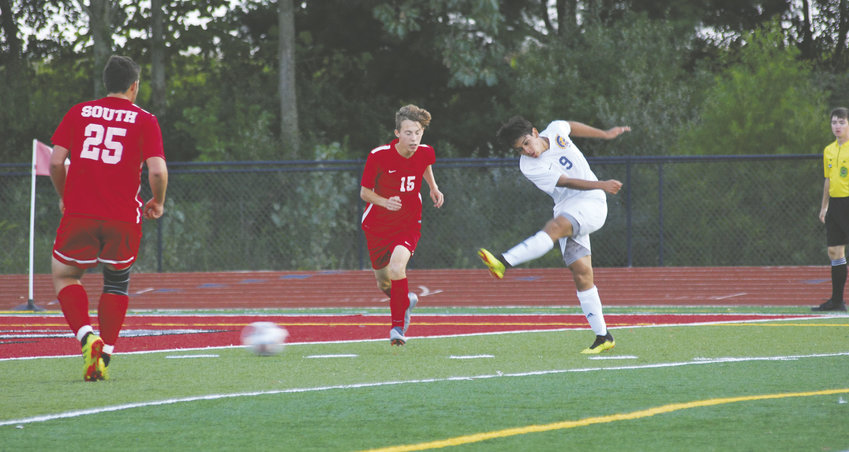 Crawfordsville's Kevin Barrera-Chinchilla (No. 9) score a pair of the Athenian's goal, while Southmont's Connor Osborn (No. 25) scored two for the Mounties, including the game-winner with 39 seconds left.