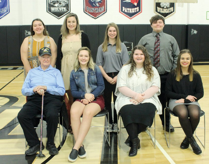 Participants in the Parke Heritage High School Veterans Day program were, from left, front row, guest speaker Leighton Wilhite, Natalie Jones, Macy Kent and Jasmyne Everson; and back row, Megan Query, Stella Mrazik, Ava Barger and Xander Brown.