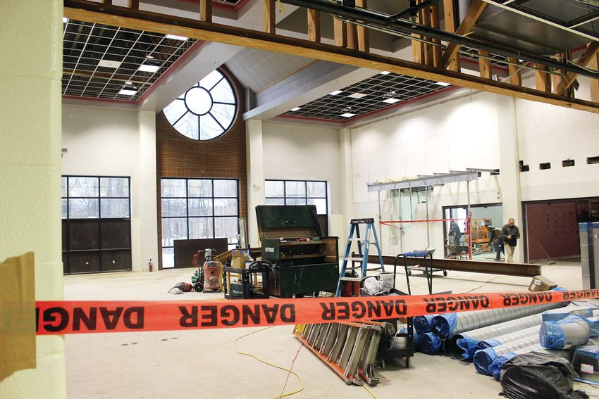 The media center at Crawfordsville High School undergoes transformation as part of the school district's ongoing renovation project.