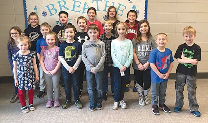 Sommer Elementary Patriot Pass winners for January were recognized for kindness and caring. They are, from left, front row, Athalia Hurt, Annabelle Tyler, Colton Benge, Brayden Leslie, Emily Seaman, Kellan Conkright and Sawyer Dickerson; middle row, Sophie Slavens, Jace Wagner, Jaron Hayes, Westin Craig and Karsyn Hubble; and back row, Kora Hinds, Laine Barnett, Kyla Oakley, Aubrey O'Dell and Drew Dark.