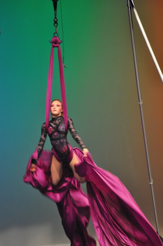Dericka Jeffers, winner of MoCo's Got Talent for Scholarships, performs an aerial silks routine Saturday at Crawfordsville High School. The competition was a fundraiser for the school's alumni association, which gave $500 scholarships to four Crawfordsville seniors last year.
