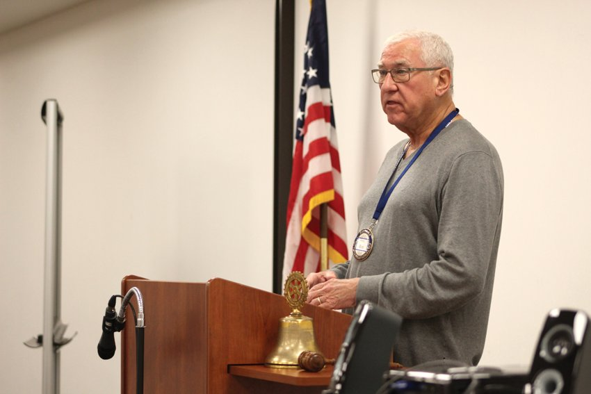 Rotarian Ron Hess discusses upcoming events for Rotary International's 100-year anniversary Wednesday at the Crawfordsville District Public Library.