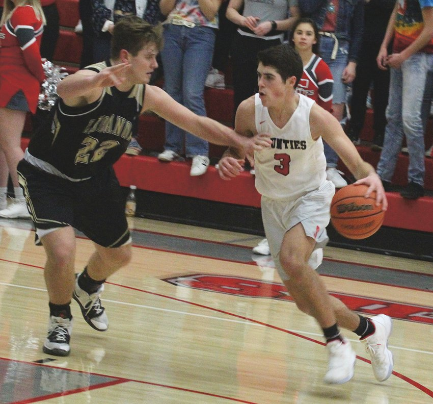 Southmont's Drew Glancy looks to move around a Lebanon defender in a game earlier this season.