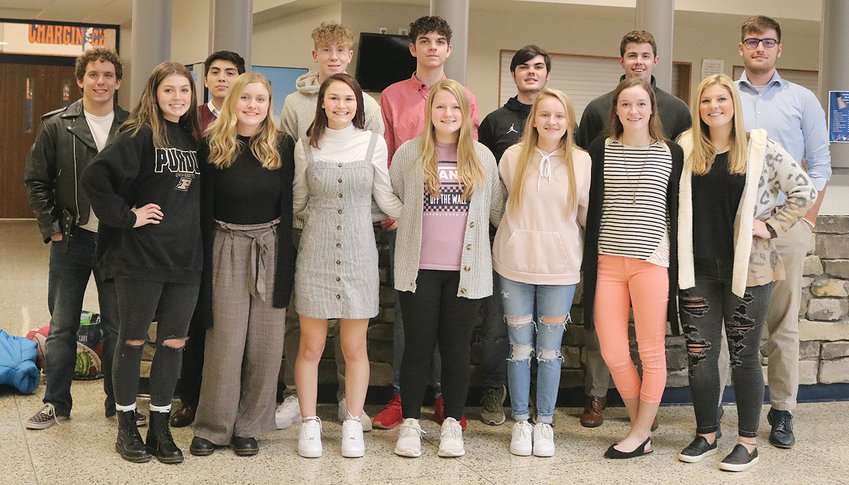Members of the North Montgomery High School Winter Homecoming Court are, from left, front row, Chloe Pate, Chloe Maxwell, Teegan Bacon, Sydnee Turner, Hannah Deckard, Ellen Laffoon and Grace Little; and back row, back row, Adam Coon, Tonyer Jaimez-Gonzalez, Nathaniel Hood, Gavin Meihls, Cooper Bowman, Alexander Wallace and Jackson Thompson.