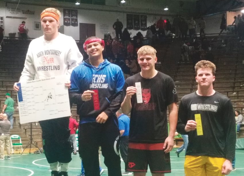 North Montgomery's Drew Webster stood atop the podium for a second-straight year at the New Castle wrestling semi-state on Saturday.
