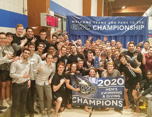The University of Indianapolis men's swimming and diving team celebrates their third straight Great Lakes Valley Conference championship at the Crawfordsville Aquatics Center.