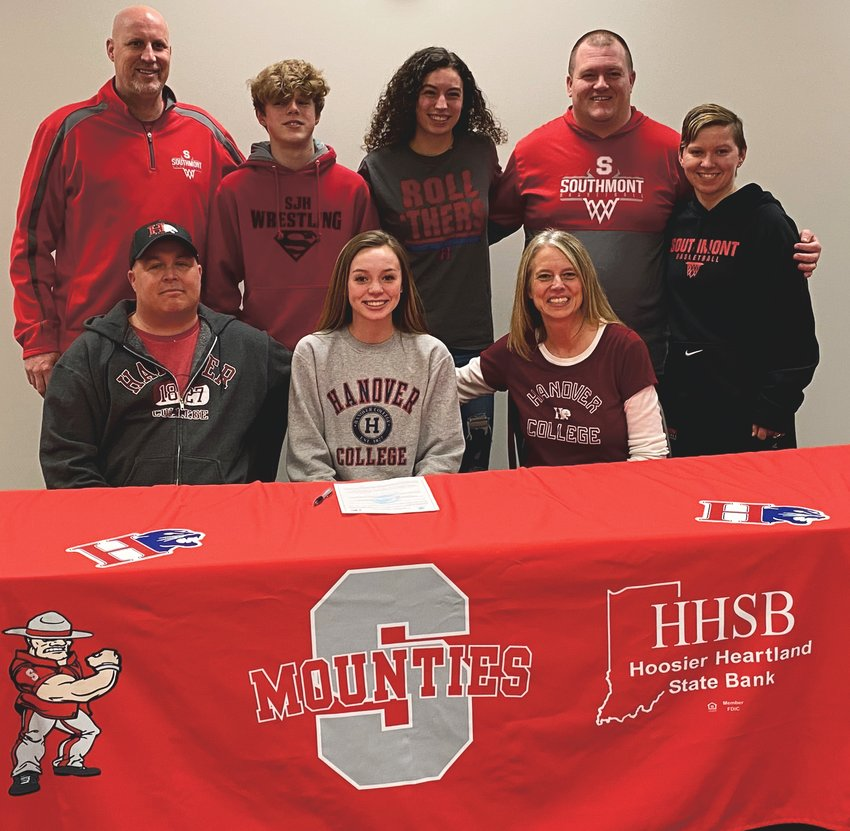 Joined by her family and coaches, Southmont senior Emma Ward celebrated her commitment to continue her academic and basketball career at Hanover College next fall. Ward's sister Lilly, is currently a member of the women's basketball team.
