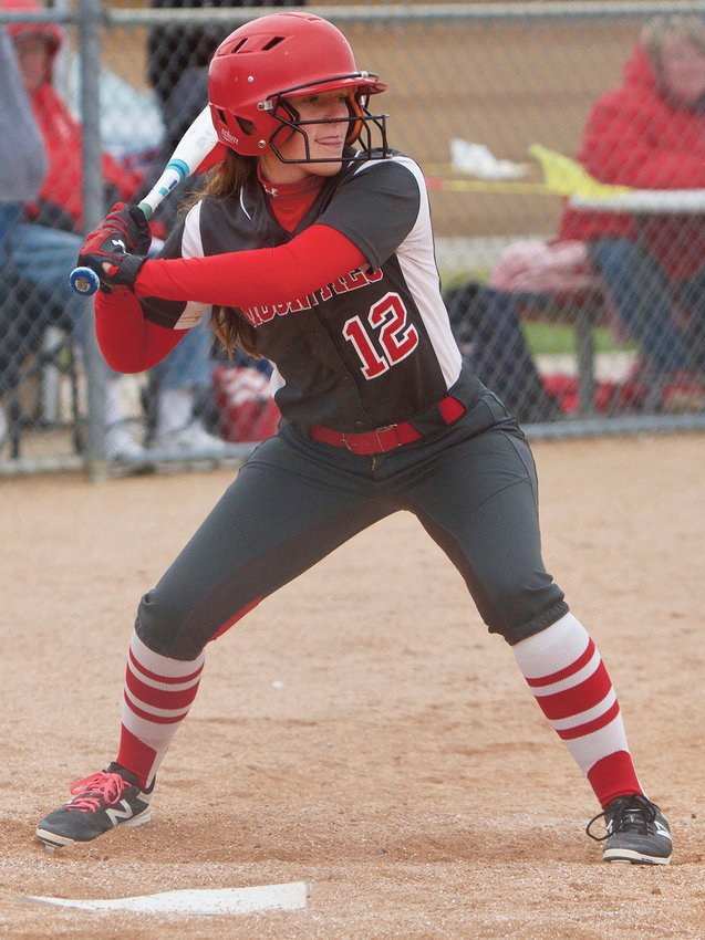 Hannah Thompson had the big hit for the Mounties in a sectional win in 2018.