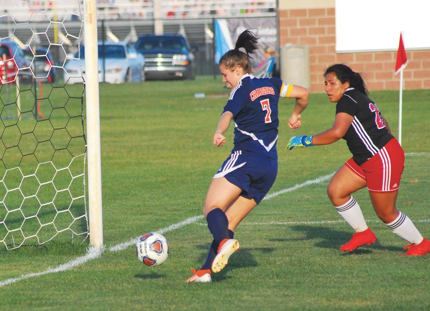 North Montgomery's Sidney Campbell finds the back of the net last fall. She returns in 2020 for her senior season.