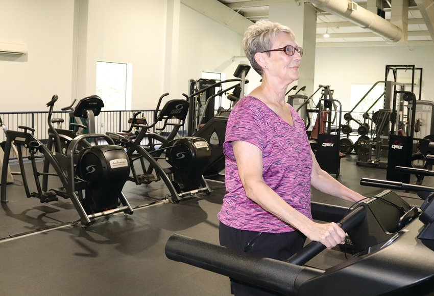 Retiree Cathy MacDougal returns to her workout routine at the Crawfordsville Community Center on Monday
