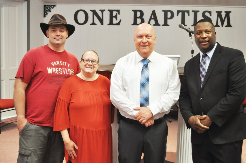 Crawfordsville Mayor Todd Barton made a visit to One Way Pentecostal Apostolic Church on Tuesday. Standing with Barton, from left, is Chad Arthur, Tawenis Arthur and Pastor Steven Lee.