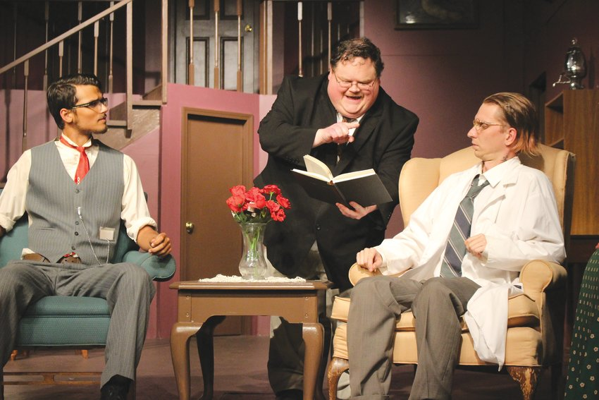 From left, Isaac Bacon (Jonathan Brewster), Dan Martin (Teddy Brewster) and Alan Hobson   (Dr. Einstein) perform a scene from Arsenic and Old Lace, the Vanity Theater's latest production.