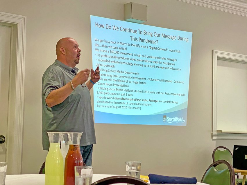 Motivational speaker Carmine Azzato sheds light on the emerging mental health crisis surrounding today's youth during a Rotary luncheon Wednesday at the Crawfordsville County Club.