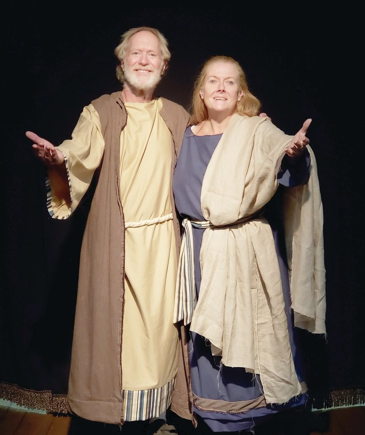 Noah and his wife (Don Hart and Regina Harbour) prepare to take their journey of a lifetime in The Ark, running from Friday through Oct. 11 at Myers Dinner Theatre, Hillsboro.