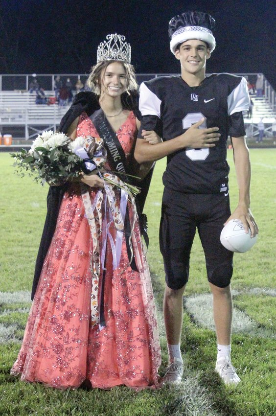 Hollie Kouns and Riley Ferguson were named Parke Heritage Homecoming Queen and King during ceremonies held at halftime of the football game on Friday. Hollie is the daughter of Gary Kouns of Montezuma. Riley is the son of Eric Ferguson of Waveland and Kerry Ferguson of Rockville.