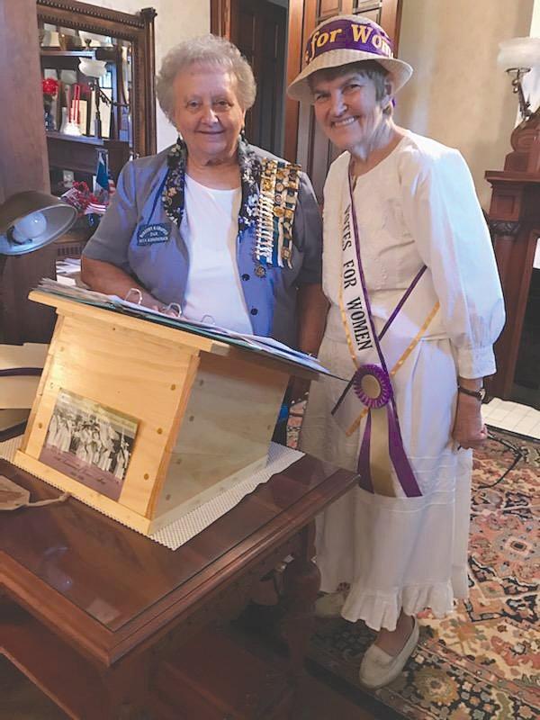 NSDAR Dorothy Q Chapter Regent Rita Kirkpatrick, left, poses with Gail Pebworth, League of Women Voters.