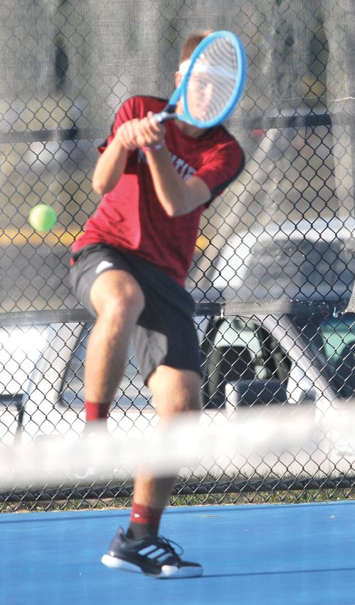 Southmont's Adam Cox defeated Parke Heritage's Evan James 6-1, 6-1 at No. 1 singles in the sectional on Wednesday.