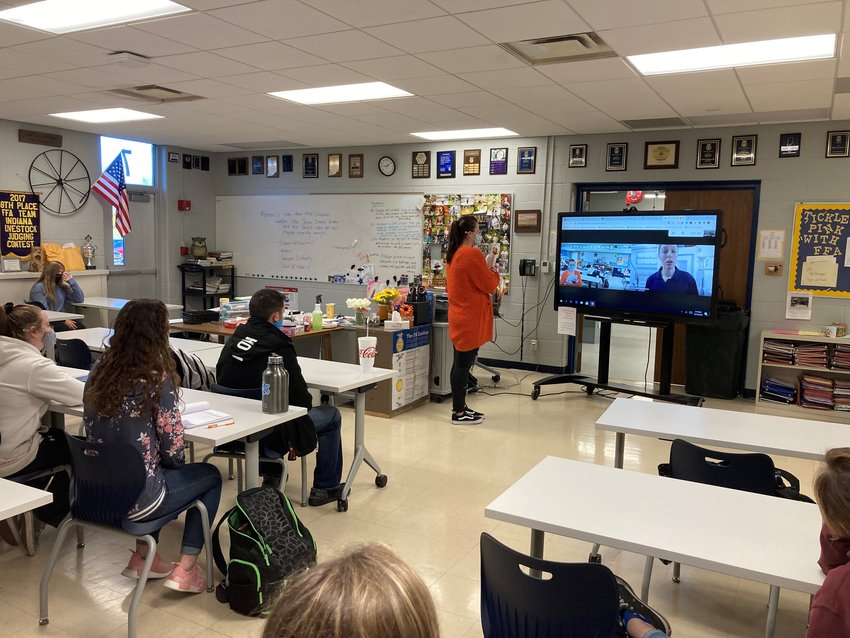 The students from Nancy Bell's animal science class at North Montgomery Community Schools recently completed their swine unit, and to provide students the opportunity to see what swine production looks like in real life, AMVC public relations coordinator, Alicia Humphrey, was invited to give the students a virtual sow farm tour.